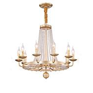 billiga Belysning-QIHengZhaoMing 10-Light Candle-stil Ljuskronor Glödande 110-120V / 220-240V, Varmt vit, Glödlampa inkluderad / 15-20㎡
