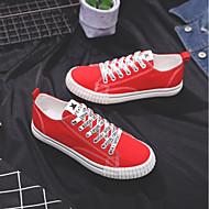 baratos Sapatos Femininos-Mulheres Sapatos Lona Primavera / Verão Conforto Tênis Sem Salto Branco / Preto / Vermelho