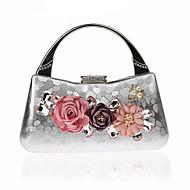 billige Designer Evening Bags-Dame Poser PU / Legering Aftenveske Krystalldetaljer / Blomst Svart / Rød / Sølv