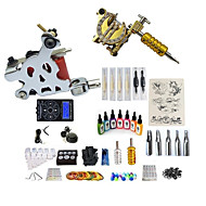 billige Tatoveringssett for nybegynnere-BaseKey Tattoo Machine Startkit - 2 pcs tattoo maskiner med 7 x 15 ml tatovering blekk, Profesjonell, Sæt Legering LCD strømforsyning No case 20 W 2 x legering tatovering maskin for fôr og
