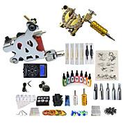 baratos Kits de Tatuagem para Iniciantes-BaseKey Máquina de tatuagem Conjunto de Principiante - 2 pcs máquinas de tatuagem com 7 x 15 ml tintas de tatuagem, Profissional, Conjuntos Liga LCD de alimentação No case 20 W 2 x máquina de