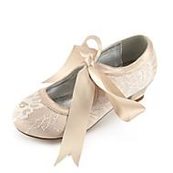 billige Sko til blomsterpiger-Pige Sko Blonde Forår Tiny Heels for teenagere Sko til blomsterpiger Ankelrem Flade balletsko Komfort Hæle Rosette Spænde Kombination