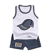 סט של בגדים כותנה ללא שרוולים דפוס טלאים פעיל בנים תִינוֹק / פעוטות