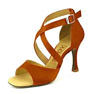 baratos Sapatilhas de Dança-Mulheres Sapatos de Dança Latina / Dança de Salão / Sapatos de Salsa Cetim Sandália Presilha Salto Personalizado Personalizável Sapatos de Dança Amarelo / Fúcsia / Púrpura / Camurça