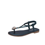 baratos Sapatos Femininos-Mulheres Sapatos Courino Verão Tira em T Sandálias Sem Salto Ponta Redonda Pérolas Preto / Verde / Rosa claro