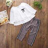 Baby Pige Ensfarvet Trykt mønster Ternet Langærmet Tøjsæt