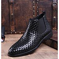 baratos Sapatos Masculinos-Homens Curta/Ankle Pele Inverno Botas Botas Curtas / Ankle Preto