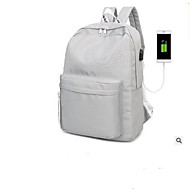 billige Skoletasker-Unisex Tasker Nylon rygsæk Udhulet / Lynlås for udendørs Hvid / Sort
