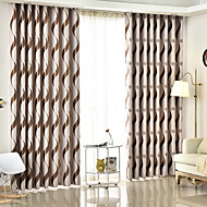 cheap Curtains & Drapes-Blackout Curtains Drapes Bedroom Stripe Polyester Blend Jacquard