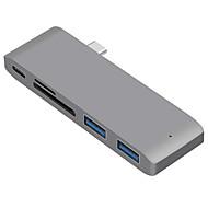 USB 3.1 Type C to USB 3.1 ฮับ USB 5 พอร์ต ความเร็วสูง / กับ Card Reader (s)