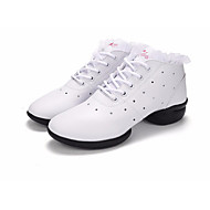 billige Dansesneakers-Dame Dansesko Syntetisk Mikrofiber PU Joggesko Lav hæl Dansesko Hvit / Svart / Svart-Hvit / Ytelse / Trening