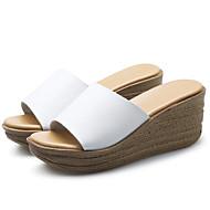 baratos Sapatos Femininos-Mulheres Sapatos Pele Verão Conforto / Gladiador Sandálias Creepers Branco / Preto / Calcanhares