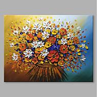 billiga Blom-/växtmålningar-Hang målad oljemålning HANDMÅLAD - Stilleben Blommig / Botanisk Samtida Moderna Duk