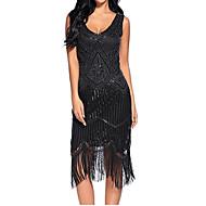 Χαμηλού Κόστους -Θύσανος Δεκαετία του 1920 Gatsby Στολές Γυναικεία Φανελάκι φόρεμα Κόκκινο+Μαύρο / Χρυσαφί+Μαύρο / Μπορντώ Πεπαλαιωμένο Cosplay Πολυεστέρας Πούλια Αμάνικο Μέχρι το γόνατο