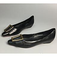 baratos Sapatos Femininos-Mulheres Sapatos Pele Napa / Pele Primavera Conforto Rasos Sem Salto Preto