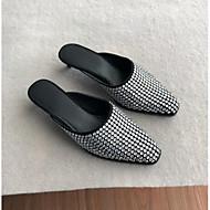 baratos Sapatos Femininos-Mulheres Sapatos Couro / Pele Napa Verão Conforto Tamancos e Mules Salto Robusto Prata