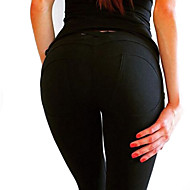 Dame Bomuld Sports Legging - Ensfarvet Lav Talje