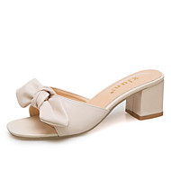 cheap -Women's PU(Polyurethane) Summer Comfort Slippers & Flip-Flops Chunky Heel Bowknot Black / Beige / Khaki