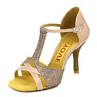 baratos Sapatilhas de Dança-Mulheres Sapatos de Dança Latina / Sapatos de Salsa Cetim / Seda Sandália / Salto Presilha / Cadarço de Borracha Salto Personalizado Personalizável Sapatos de Dança Bronze / Amêndoa / Nú / Espetáculo