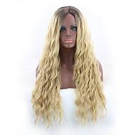 Parrucche di capelli umani con retina Per donna Riccio Biondo Parte di mezzo Capelli sintetici Disegni alla moda / Feste Biondo Parrucca Lungo Senza tappo Nero e Oro