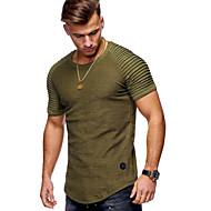 Enfärgad Bomull T-shirt - Grundläggande Herr Rund hals Svart XL / Kortärmad
