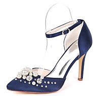 cheap -Women's Shoes Satin Spring & Summer Basic Pump Wedding Shoes Stiletto Heel Pointed Toe Rhinestone / Beading / Imitation Pearl Royal Blue