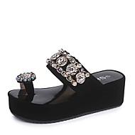 cheap -Women's PU(Polyurethane) Summer Comfort Slippers & Flip-Flops Flat Heel Round Toe Rhinestone White / Black