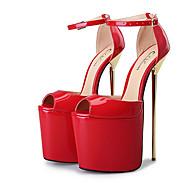 baratos Sapatos Femininos-Mulheres Sapatos Couro Ecológico Primavera Verão Plataforma Básica Saltos Salto Agulha Peep Toe Presilha Prateado / Vermelho / Amêndoa