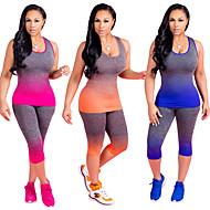 Dame Yoga Suit - Orange, Rosa, Blå Sport Farvegradient Løb, Fitness, Træningscenter Uden ærmer Plusstørrelser Sportstøj Anatomisk design, Åndbart Elastisk