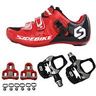 SIDEBIKE מבוגרים נעלי רכיבה עם פדל וקליט נעליים לאופני כביש סיבי פחמן ריפוד רכיבת אופניים אודם בגדי ריקוד גברים נעלים לרכיבת אופניים / רשת נושמת