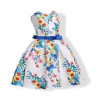 子供 女の子 甘い 幾何学模様 ノースリーブ ドレス ホワイト