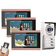 お買い得  ビデオ式 ドア用インターホンシステム-MOUNTAINONE 3 Apartments Wifi Video Door Phone ワイヤレス / ケーブル 撮影 / 記録 / マルチファミリービデオドアベル 7 インチ ハンズフリー 1024*600 ピクセル 1〜3ビデオドアホン