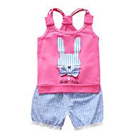 סט של בגדים כותנה ללא שרוולים טלאים / דפוס פסים / טלאים פעיל בנות תִינוֹק / פעוטות