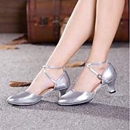 billige Moderne sko-Dame Moderne sko PU Høye hæler Kubansk hæl Kan spesialtilpasses Dansesko Svart / Mørkerød / Sølv