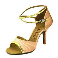 billige Men's Dance Shoes-Justerbar - Dame - Dansesko - Latin - Sateng - Skræddersy din hæl! - Svart / Blå / Brun / Rød / Sølv