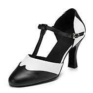 billige Moderne sko-Dame Moderne sko Nappa Lær Sandaler Rynker Kubansk hæl Dansesko Svart / Hvit