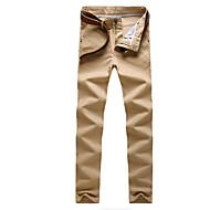 hesapli Under $13.99-Erkek Sokak Şıklığı Yüksek Bel Pamuklu İnce Chinos Pantolon Solid