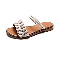 baratos Sapatos Femininos-Mulheres Camurça Verão Conforto Sandálias Caminhada Sem Salto Dedo Aberto Rendado Preto / Verde / Khaki