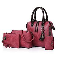Kadın's Çantalar PU Çanta Setleri 4 Adet Çanta Seti Fermuar / Püsküllü için Günlük / Dışarı Çıkma İlkbahar yaz Gri / Kahverengi / Şarap