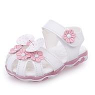 baratos Sapatos de Menina-Para Meninas Sapatos Couro Ecológico Verão Solados com Luzes / Tênis com LED Rasos Caminhada LED para Bebê Branco / Rosa claro