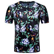 Homens Camiseta Floral Algodão Decote Redondo Delgado / Por favor, sempre escolha um número maior que o seu número normal. / Manga Curta