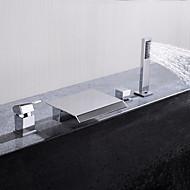 tanie Baterie prysznicowe-Bateria wannowa - Współczesny Chrom Montowanie na krawędzi Zawór ceramiczny / Jeden uchwyt Cztery otwory