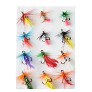 billiga Fiske-12 pcs Flugor / Lock förpackningar / Fiske krokar Flugor Fjädrar / Kolstål Vattentålig / Enkel att installera / Lätt att bära Flugfiske / Kastfiske / Färskvatten Fiske / Generellt fiske