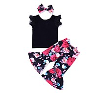 cheap -Baby Girls' Active Daily Print Sleeveless Long Cotton / Polyester Clothing Set Black