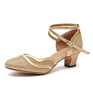 billige Moderne sko-Dame Moderne sko Lakklær Høye hæler Rynker Kubansk hæl Dansesko Gull / Brun