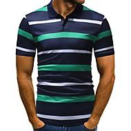 Men's Work Business / Basic Cotton Slim Polo - Striped / Color Block Print Shirt Collar Green XL / Short Sleeve