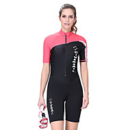 Dive&Sail Women's Shorty Wetsuit 1.5mm Spandex Neoprene Diving Suit SPF50 UV Sun Protection Breathable Short Sleeve Front Zip - Swimming Diving Surfing Classic Spring Summer / Quick Dry / Stretchy