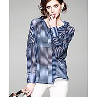 女性用 ワーク シャツ Vネック ストライプ
