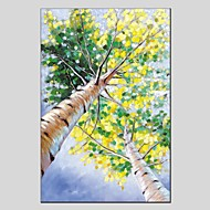 billiga Blom-/växtmålningar-Hang målad oljemålning HANDMÅLAD - Blommig / Botanisk Moderna Duk