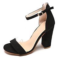 Mujer Zapatos Ante / PU Verano Tira en el Tobillo Sandalias Tacón Cuadrado Negro / Rosa / Fiesta y Noche 0WhoXd